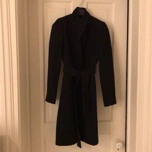 J crew black wool belted coat
